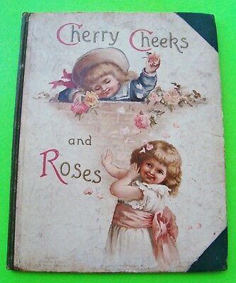 ca 1880 CHERRY CHEEKS AND ROSES H-C Children's Illustrated CHROMOLITHOGRAPHS