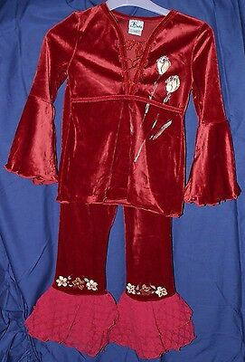 Girls Retro Designer~Baln~Red Velour Top & Trouser Set~7 Yrs~Dancewear~Rrp *£75