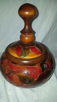 Wooden bowl with lid treen dish carved wooden bowl
