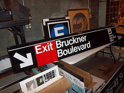 Nyc Collectible Subway Sign Bus New York Bronx Ny Bruckner Authentic Art Vintage