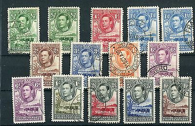 Bechuanaland KGVI 1938-52 definitive set + some shades SG118/28, used
