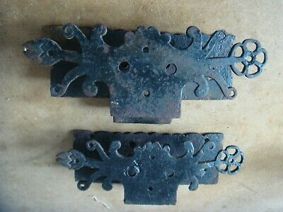 vintage large decorative church door ? hinges blacksmith hand made wrought iron