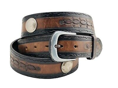 Vintage Buffalo Indian Head Nickel Tooled Brown Southwick Leather Belt Size 40