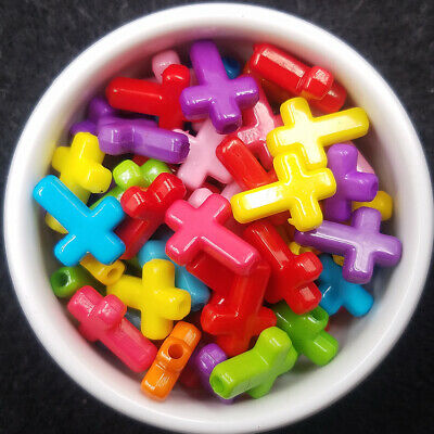 100pcs Acrylic Loose Cross Bubblegum Top beads 16X12mm Color Spacer Charm Mixed