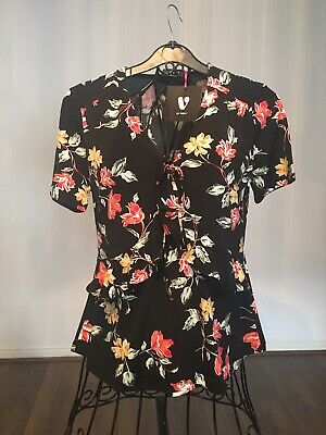 V By Very Floral Print Jersey Ruffle Detal Top - Size 8 - BNWT
