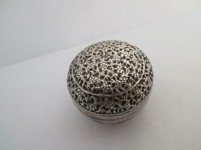 Sterling Silver Anglo Indian round box & cover Antique Victorian c.1890. k211