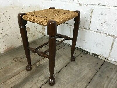 Charming Edwardian Country House Solid Oak Rush Seat Stool With Bun Feet