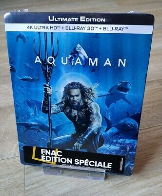 Aquaman FNAC Steelbook Blu-ray 4K/3D/2D/OST FNAC Ultimate Edition New Sealed