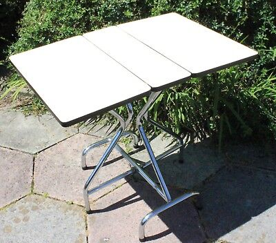 Mid Century Atomic 1960's French Formica & Chrome Drop Leaf Kitchen Dining Table
