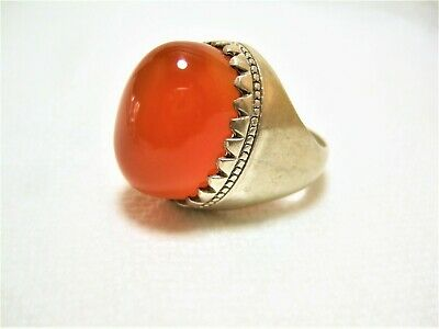 Natural Vintage Yemen Persian Carnelian Aqeeq King SILVER Men Ring 28.9-gm us:12