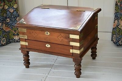 Antique Victorian Campaign Writing Slope Turned Legs,Campaign Desk,Writing Box