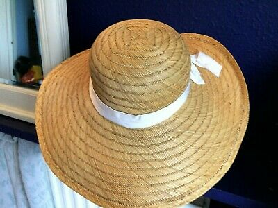 Vintage 1980s Straw HAT wide dipped shaped brim + ribbon & bow trim by Looks