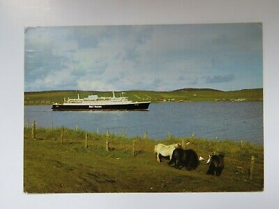 Vintage 1981 P&O Ferry St Clair leaving Lerwick Shetland Real Photo Postcard