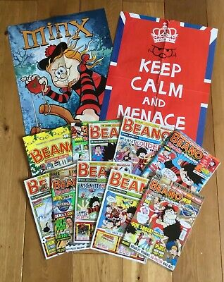 The Beano comic book bundle, 10 issues from 2012. Includes 3 Posters.