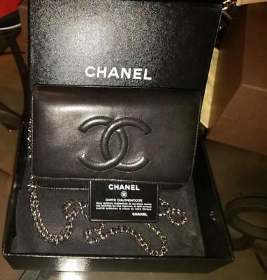b907a646a692 AUTHENTIC CHANEL WALLET on Chain Black Caviar Gold Hardware in ...