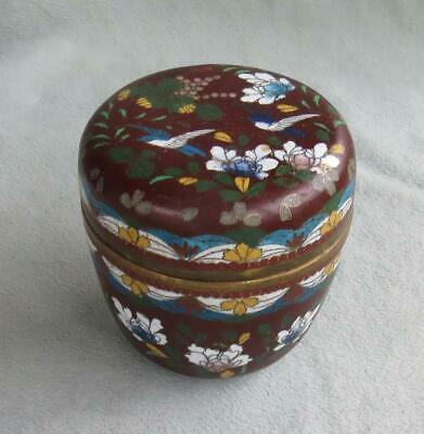 Vintage Antique Chinese Cloisonne Box Jar