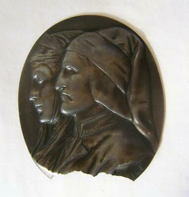 Antique Pewter Oval Plaque: Dante & Beatrice Miniature Portrait A/F