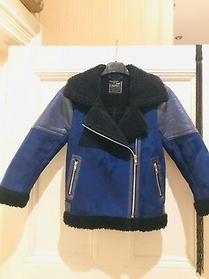 NEXT GIRLS/ BOYS ROYAL BLUE FAUX FUR METALLIC AVIATOR JACKET AGE 7-8 Years Bnwot