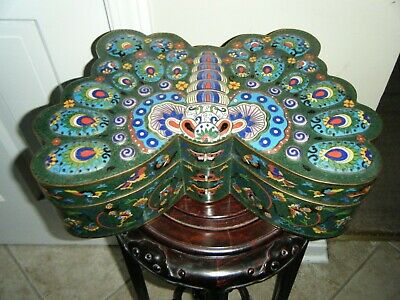"Large Cloisonne Over Copper  Butterfly Box Is 15"" In Size Beautiful Colors"