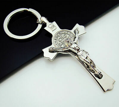 Carry Free Keychains Ring Key Cross Alloy Statues INRI 3D Jesus belief Always