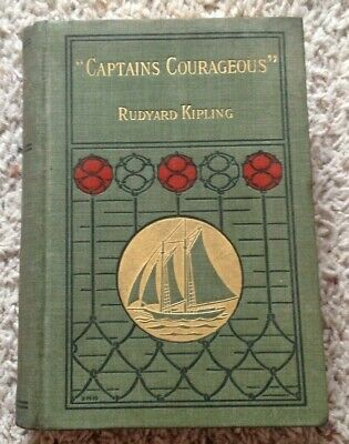 "Antique 1897 ""CAPTAINS COURAGEOUS"" by Rudyard Kipling 1st AMERICAN EDITION RARE!"