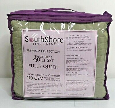 Southshore Fine Linens Oversized 3 Piece Green Quilt Set Full Queen