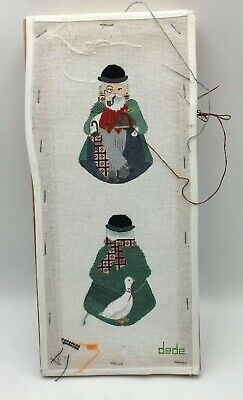 2 SIDED Man with Goose DEDE Handpainted PETIT POINT CANVAS Partially Worked