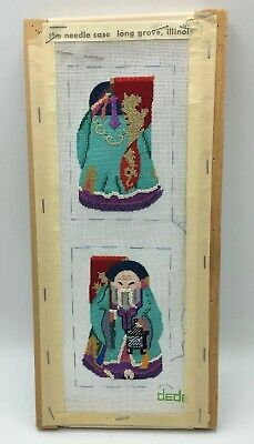 2 SIDED Chinese Immortal DEDE Handpainted PETIT POINT CANVAS Partially Worked