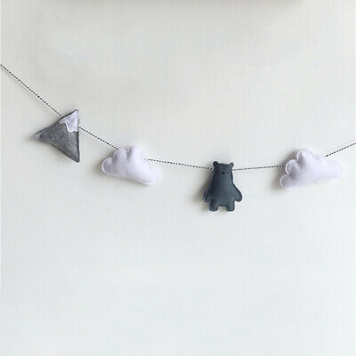 Cotton Wool Felt Bear Cloud Baby Room Wall Ornament Nursery Hanging Decor Gifts