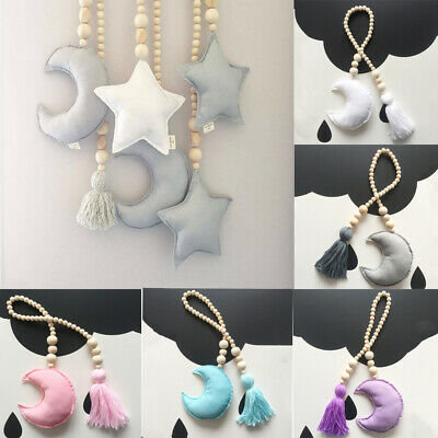 New Cotton Moon Wooden Beaded Tassel Wall Hanging Decor Baby Room Nursery Crafts