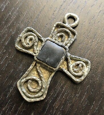 Fine Antique Medieval Silver Onyx Inlaid Handmade Cross Religious Art Jewelry NR