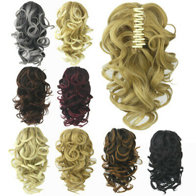 Women Lady Clip In Claw Ponytail Hairpiece Curly Wavy Layered Hair Extensions