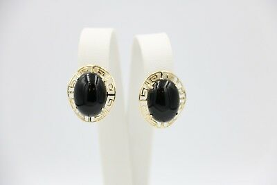 Greek Design Earrings With Black Stones On 14k Yellow Gold