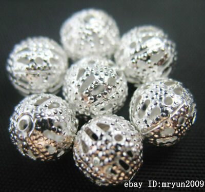 Spacing 10MM Round 50PCS Hollow Jewelry Free repair Silver making Beads Charms