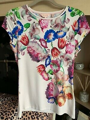 68513b8dc WOMENS TED BAKER Burgandy Mix Floral T Shirt Size 2 -  9.98