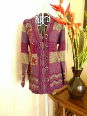 Retro  Knit Cardigan With Beading & Sequins By Ganpati