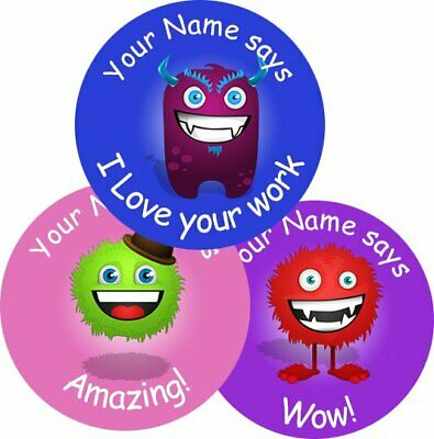 Teacher Merit Stickers - 25mm Monsters theme, Personalised Name