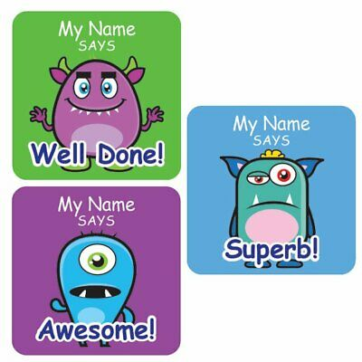 Teacher Merit Stickers - 25mm Square Cute Monster theme, Personalised Name