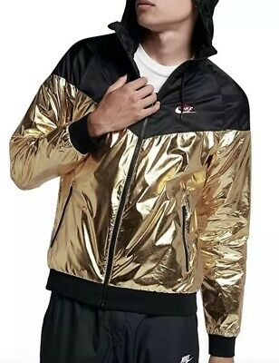 1d14bd1061c4 Mens Size Xl Nike Sportswear Windrunner Jacket 924515 707 Black   Metallic  Gold
