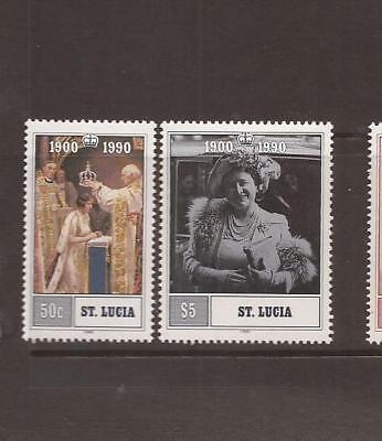 SAINT LUCIA 1990 QUEEN MUM 90th BIRTHDAY  MNH SET OF STAMPS