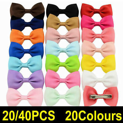 20/40PCS Handmade Bow Hair Clip Alligator Clips Girls Ribbon Kids Sides Boutique