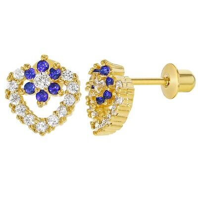 18k Gold Plated CZ Clear Heart Blue Flower Screw Back Girls Earrings