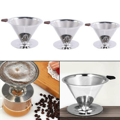 Reusable Coffee Filter Stainless Steel Holder Metal Mesh Funnel Baskets Drif Cup