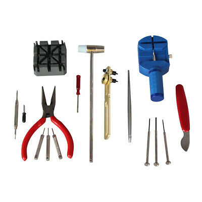 16 Pc Watch Repair Tool Kit Removes Battery Bands Links Screwdrivers Case Opener