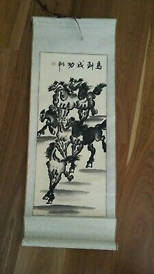 Chinese Hanging Scroll - Xu Beihong Style Horses-Silk/Rice Paper-Wooden Scrolls