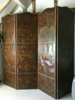 Huge 4 panel antique embossed leather hand painted screen room divider
