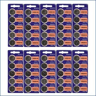 **FRESH NEW** 50 x SONY CR2016 Lithium Battery 3V Exp 2028 Pack 50 pcs Coin Cell
