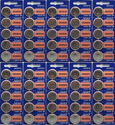 Lot of 50 FRESH NEW SONY CR2025 Lithium Battery 3V Exp 2028 Coin Cell Battery