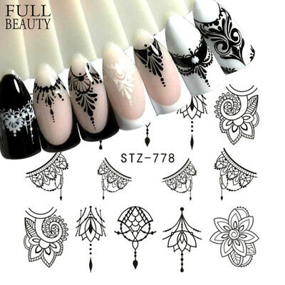 Full Beauty 5 Sheet Jewelry Nail Sticker Floral Decals Manicure Nail Sticker CP