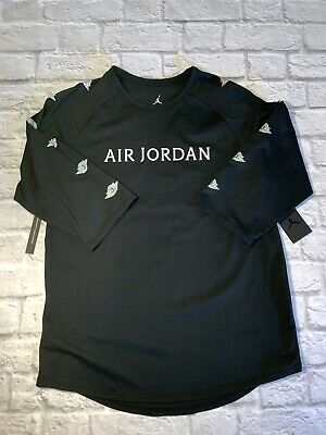 d36d9db78fe8 New Nike Air Jordan Print 3 4 Sleeves T-shirt Mens Large Black Jumpman
